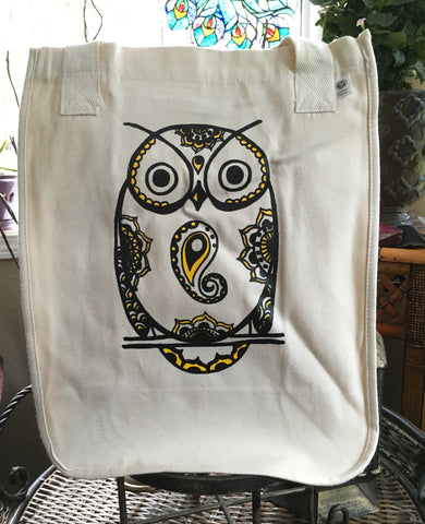 SALE TOTEM OWL ORGANIC COTTON CANVAS TOTE BAG