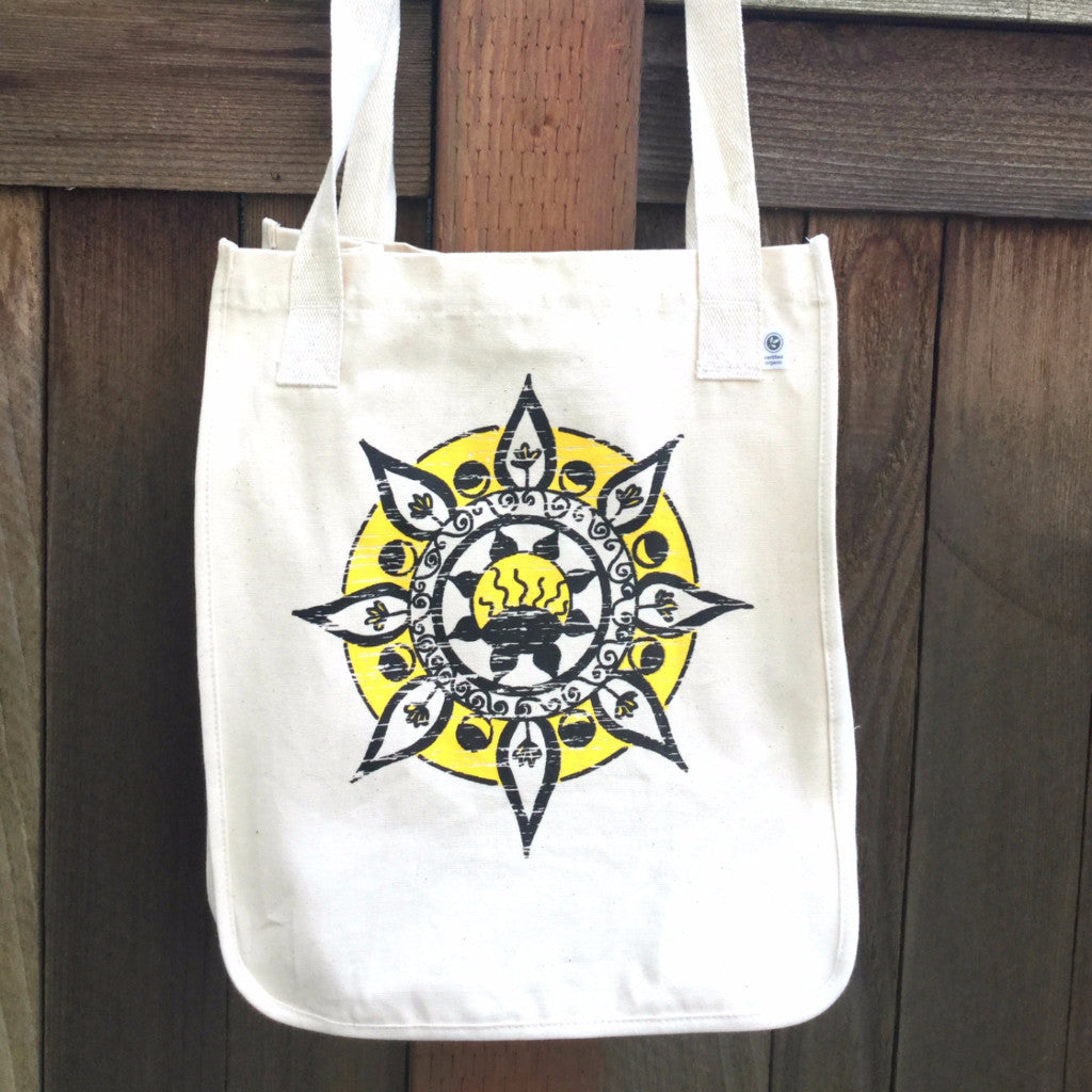 SALE Positivity Mandala Organic Cotton Tote Bag