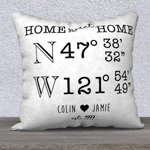 Custom Home Sweet Home with Names Latitude Longitude Pillow