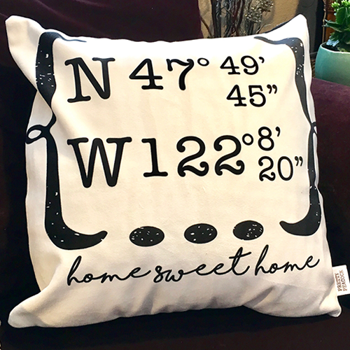 Custom Home Sweet Home Latitude Longitude Decorative Pillow