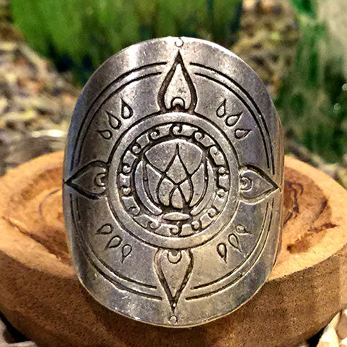 Awakening Mandala Ring Fully Adjustable Silver Boho Style