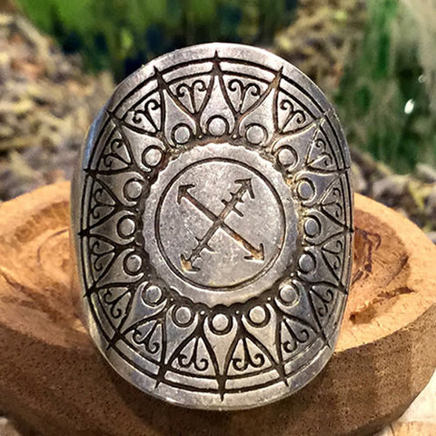 Explore Mandala Ring Fully Adjustable Silver Boho Style