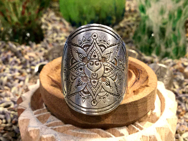 Wild Heart Mandala Ring Fully Adjustable Silver Boho Style