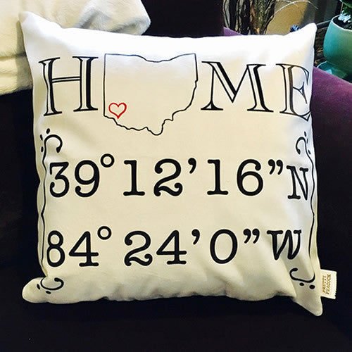 Custom Home State Latitude Longitude Decorative Pillow