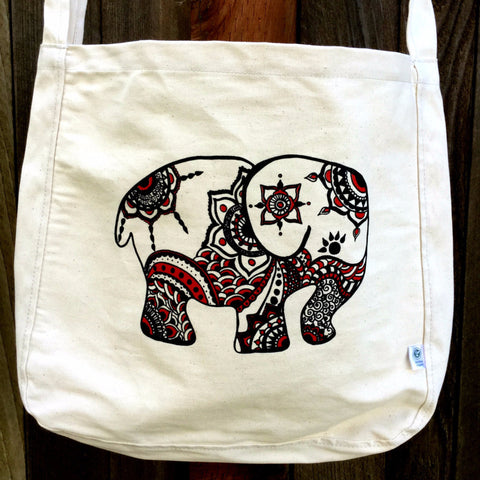SALE Totem Elephant Crossbody Organic Cotton Canvas Tote Bag