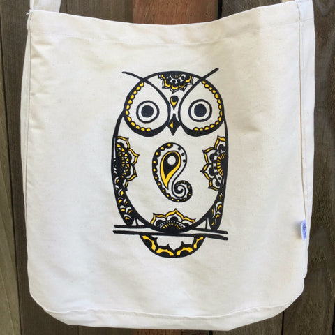 SALE Totem Owl Crossbody Organic Cotton Canvas Tote Bag