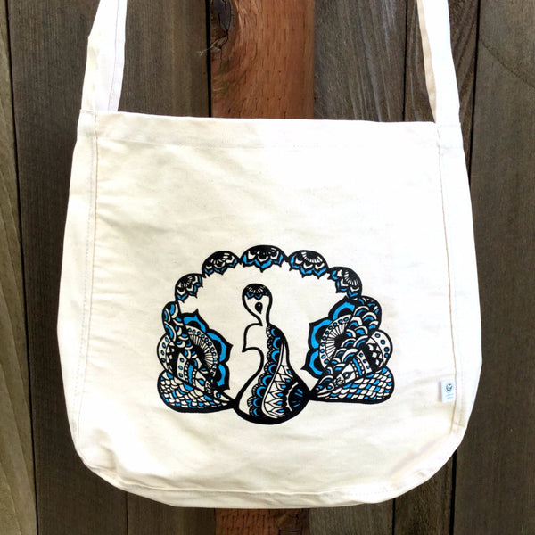SALE Totem Peacock Crossbody Organic Cotton Canvas Tote Bag