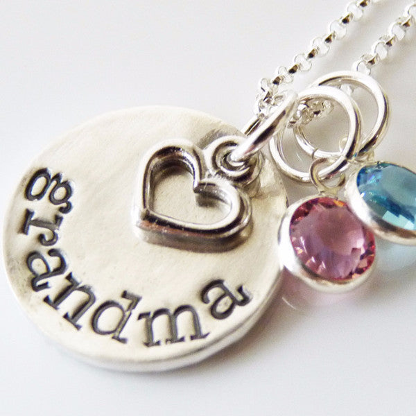 Grandma Pendant with Birthstones