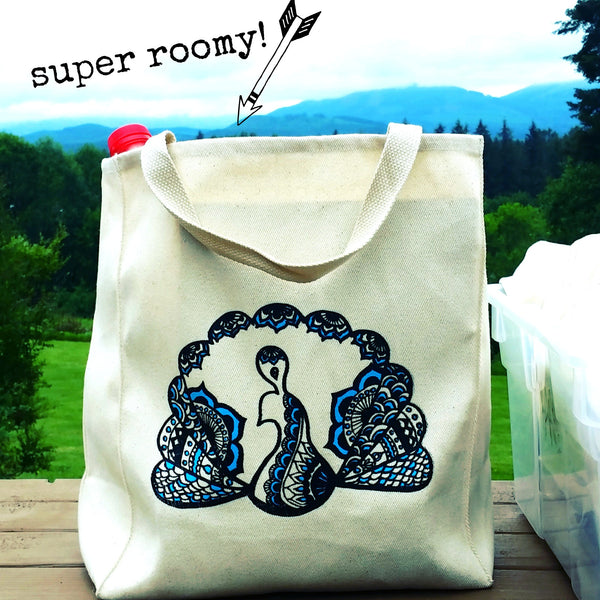 SALE TOTEM PEACOCK ORGANIC COTTON CANVAS TOTE BAG