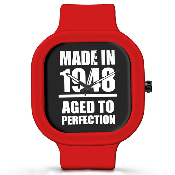 Unisex Men And Women Wrist Watch India | Born in 1948 Aged To Perfection Silicone Unisex Wrist Watch For Men And Women Online India