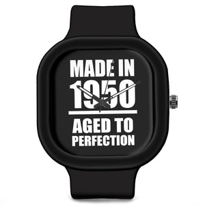 Unisex Men And Women Wrist Watch India | Born in 1950 Aged To Perfection Silicone Unisex Wrist Watch For Men And Women Online India