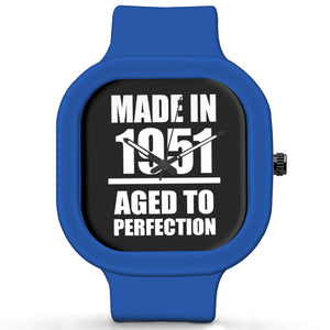 Unisex Men And Women Wrist Watch India | Born in 1951 Aged To Perfection Silicone Unisex Wrist Watch For Men And Women Online India
