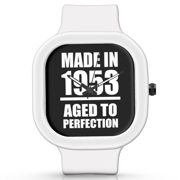 Unisex Men And Women Wrist Watch India | Born in 1953 Aged To Perfection Silicone Unisex Wrist Watch For Men And Women Online India