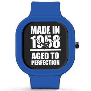 Unisex Men And Women Wrist Watch India | Born in 1958 Aged To Perfection Silicone Unisex Wrist Watch For Men And Women Online India