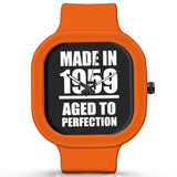 Unisex Men And Women Wrist Watch India | Born in 1959 Aged To Perfection Silicone Unisex Wrist Watch For Men And Women Online India