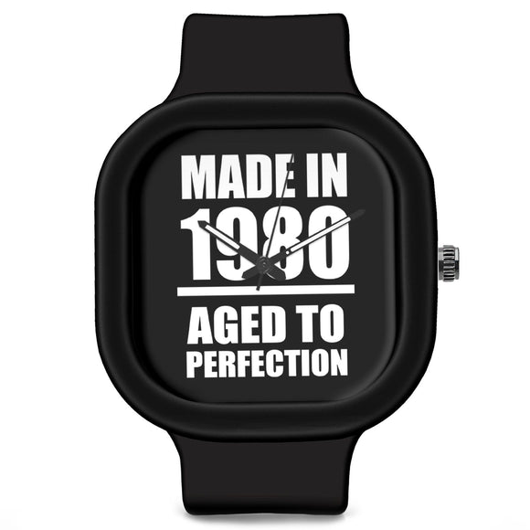 Unisex Men And Women Wrist Watch India | Born in 1980 Aged To Perfection Silicone Unisex Wrist Watch For Men And Women Online India