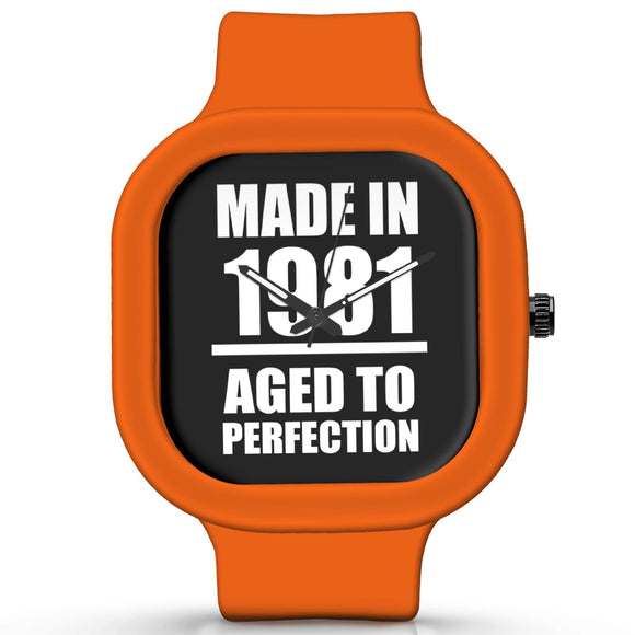 Unisex Men And Women Wrist Watch India | Born in 1981 Aged To Perfection Silicone Unisex Wrist Watch For Men And Women Online India