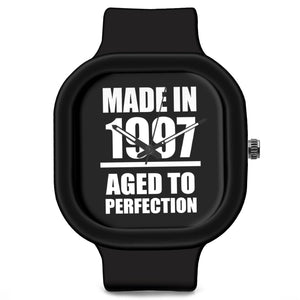 Unisex Men And Women Wrist Watch India | Born in 1997 Aged To Perfection Silicone Unisex Wrist Watch For Men And Women Online India