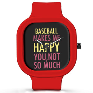 Unisex Men And Women Wrist Watch India | Baseball Makes Me Happy, You Not So Much Silicone Unisex Wrist Watch For Men And Women Online India