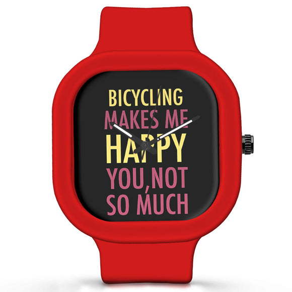 Unisex Men And Women Wrist Watch India | Bicycling Makes Me Happy, You Not So Much Silicone Unisex Wrist Watch For Men And Women Online India