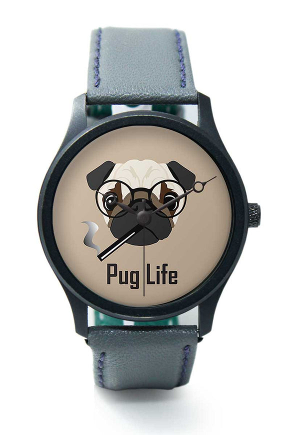 Wrist Watches India |Pug Life Funny Dog Illustration Premium Men Wrist WatchOnline India.