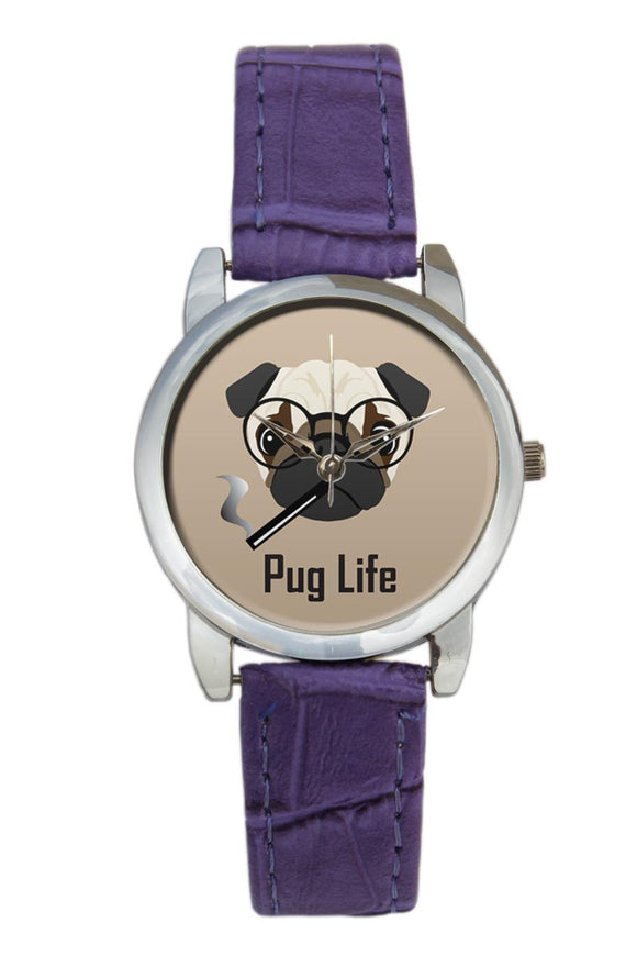Pug Life Funny Dog Illustration Women Wrist Watch