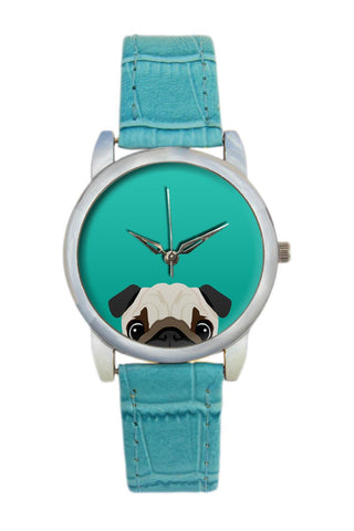 Peeking Pug Illustration Women Wrist Watch