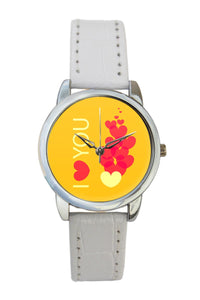 "Hearts ""I Love You"" Cute Illustration Women Wrist Watch"