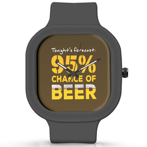Unisex Men And Women Wrist Watch India |  Beer Forecast quirky   Silicone Square Unisex Wrist Watch Online India