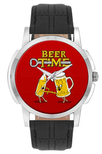 Wrist Watches India | Beer Time quirky Illustration Wrist Watch Online India.