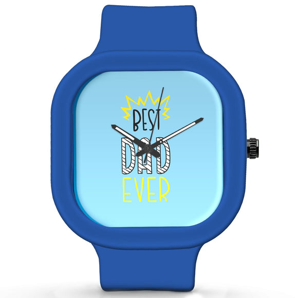 Unisex Men And Women Wrist Watch India | Best Dad Ever Typography Waterproof Silicone Unisex Wrist Watch For Men And Women  Online India