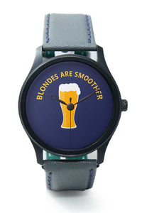 Wrist Watches India |blondes are Smoother Quirky Illustration Premium Men Wrist WatchOnline India.