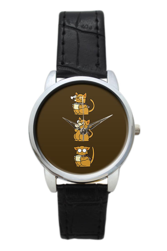 Cat Coffee And Glasses  Women Wrist Watch