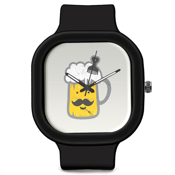 Unisex Men And Women Wrist Watch India |  Chilling Beer   Silicone Square Unisex Wrist Watch Online India