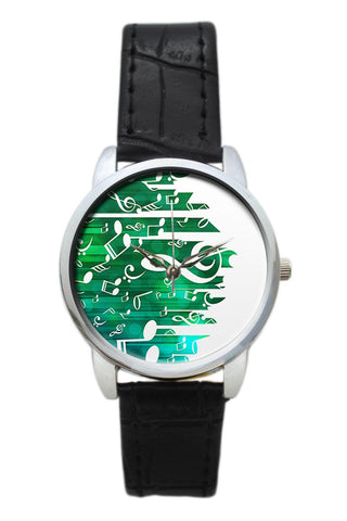 Falling Notes Illustration Women Wrist Watch