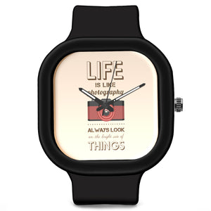 "Unisex Men And Women Wrist Watch India | Always Look on bright side ""life is like a photography"" Waterproof Silicone Unisex Wrist Watch For Men And Women  Online India"