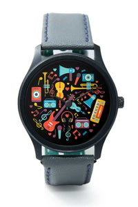 Wrist Watches India |Musical instruments circle Illustration Premium Men Wrist WatchOnline India.