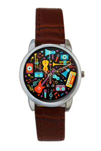 Musical Instruments Circle Illustration Women Wrist Watch