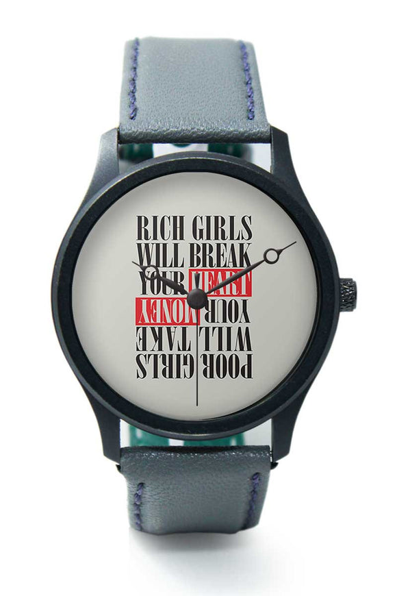 Wrist Watches India |Rich Girls Typography Premium Men Wrist WatchOnline India.