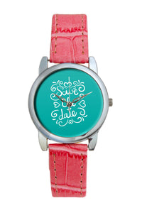Save The Date Blue Women Wrist Watch