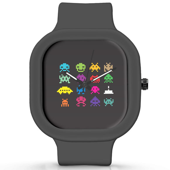 Unisex Men And Women Wrist Watch India | 8 bit creatures quirky Waterproof Silicone Unisex Wrist Watch For Men And Women  Online India