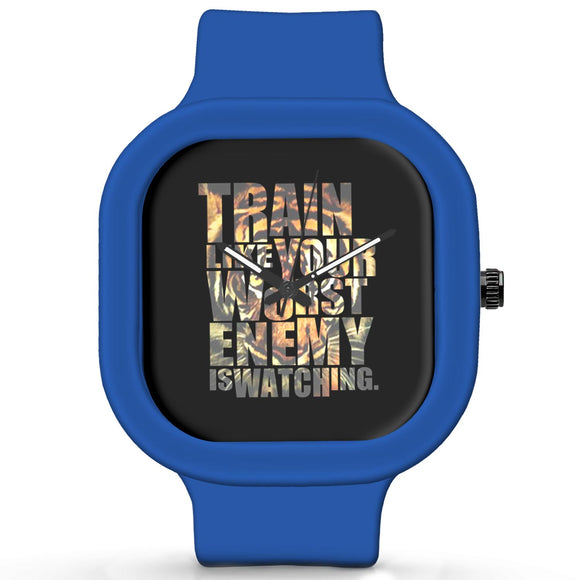 Unisex Men And Women Wrist Watch India |  Train Like Your Worst Enemy Motivational Typograpgy   Silicone Square Unisex Wrist Watch Online India