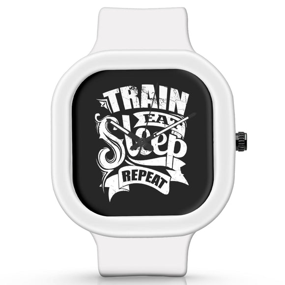 Unisex Men And Women Wrist Watch India |  Train eat sleep   Silicone Square Unisex Wrist Watch Online India