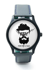 Wrist Watches India |Grow A Beard Sarcastic Typography   Premium Men Wrist WatchOnline India.