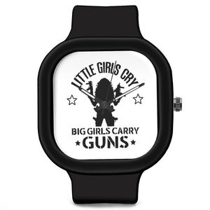 Unisex Men And Women Wrist Watch India | Big Girls Carry Guns Quirky Typography Waterproof Silicone Unisex Wrist Watch For Men And Women  Online India
