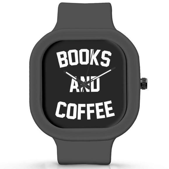 Unisex Men And Women Wrist Watch India | Books And Coffee Typography Waterproof Silicone Unisex Wrist Watch For Men And Women  Online India