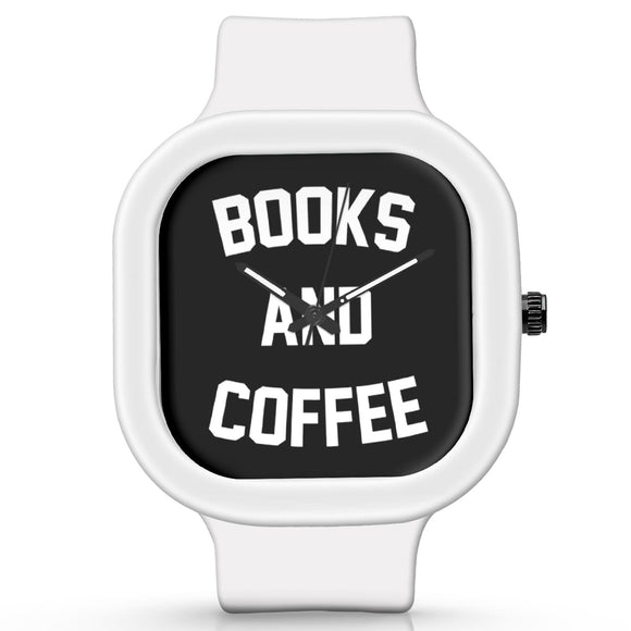 Unisex Men And Women Wrist Watch India |  Books And Coffee Typography   Silicone Square Unisex Wrist Watch Online India