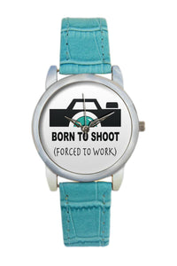 Born To Shoot Minimal Camera Illustration  Women Wrist Watch