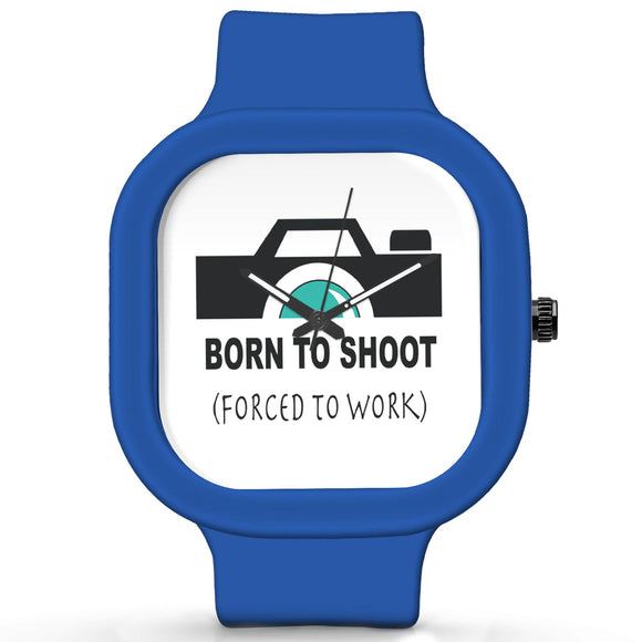 Unisex Men And Women Wrist Watch India |  Born To Shoot Minimal Camera Illustration   Silicone Square Unisex Wrist Watch Online India