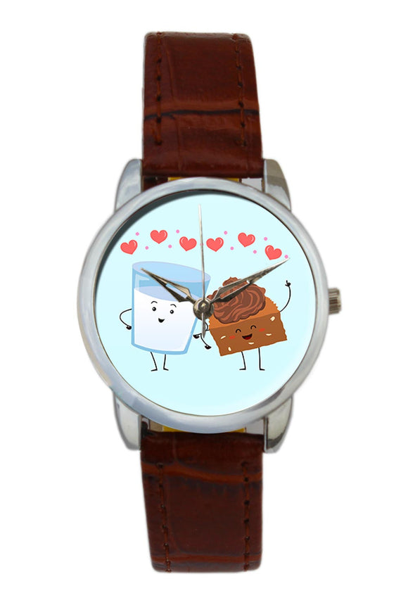 Cake And Milk Cute Illustration  Women Wrist Watch